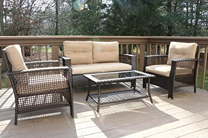 Amazon Com Oliver Smith Large 4 Pc High Back Rattan Wiker Sofa