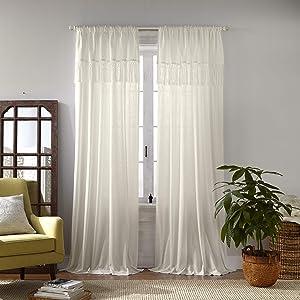 "Elrene Home Fashions Calypso Macramé Tassel Semi Sheer Window Curtain Panel, 52"" x 84"", Ivory"