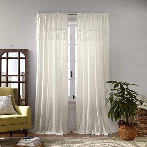 Elrene Home Fashions Calypso Macram Tassel Semi Sheer Window Curtain Panel