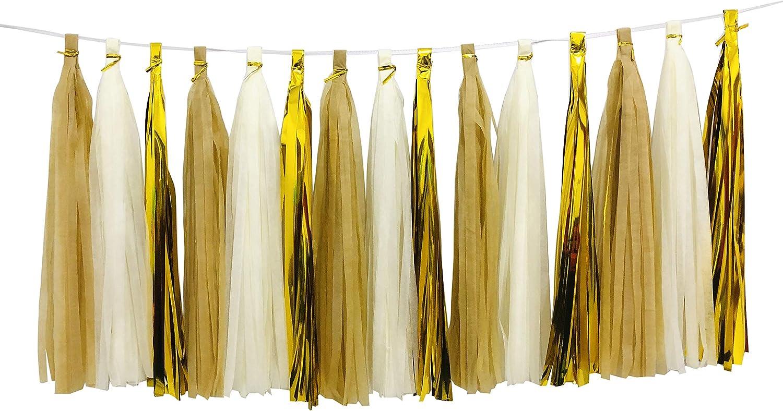 Zorpia Guirnalda de borlas brillantes de papel de seda para ...