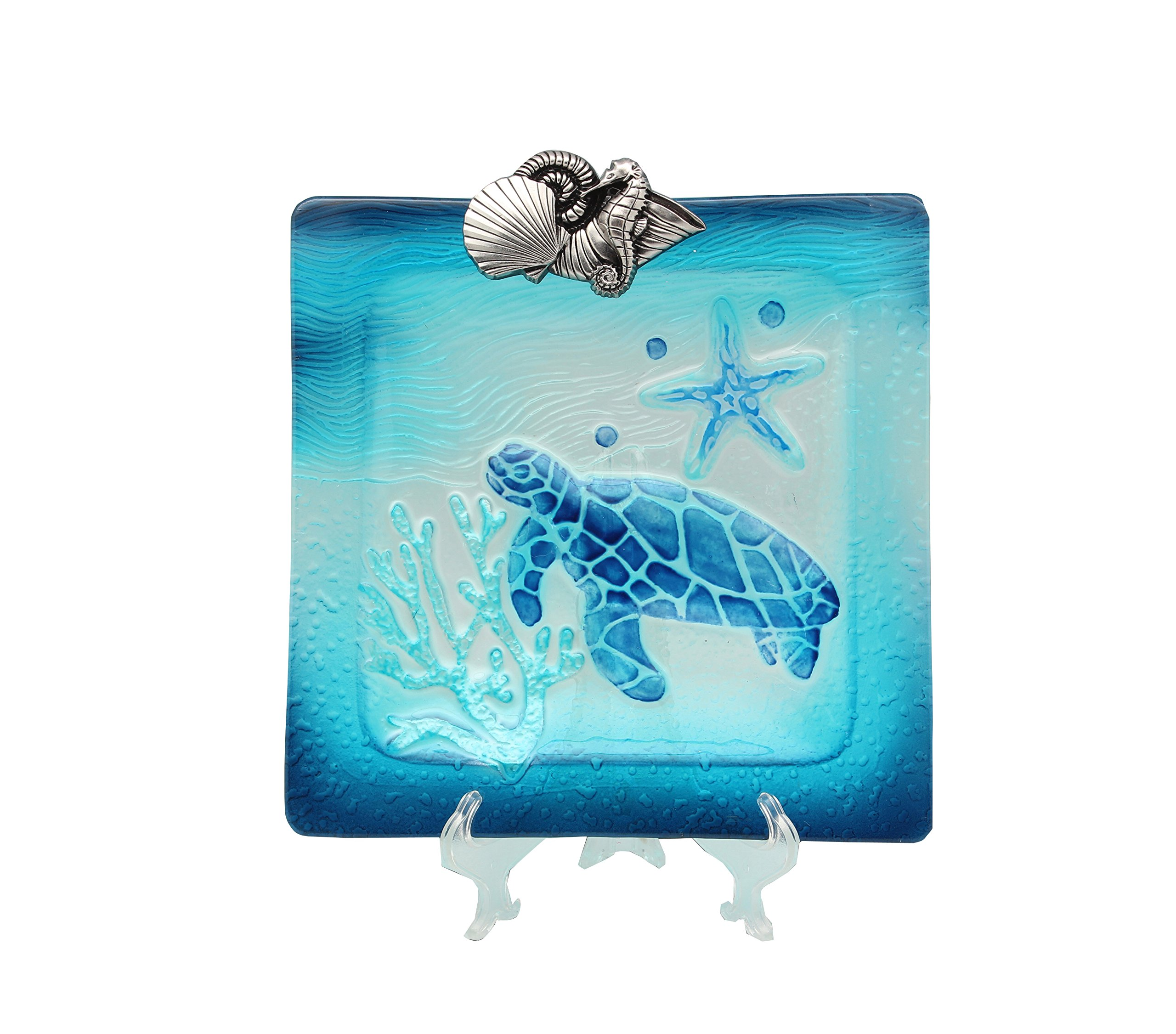 Young's Glass Turtle Serving Plate, 10.5'' x 11.25'' x 1''
