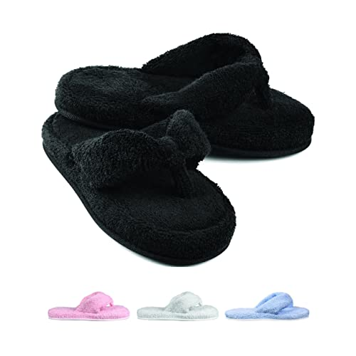351ba4915 EuropeanSoftest Women s Cozy Memory Foam Soft Premium 100% Terry Cotton  Cloth SPA Thong Flip Flops