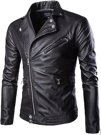 Elonglin Men Moto Biker Jacket Faux Leather Vintage Motorcycle Jacket Coat Zip Classic Collar Keep Warm Autumn Winter Black