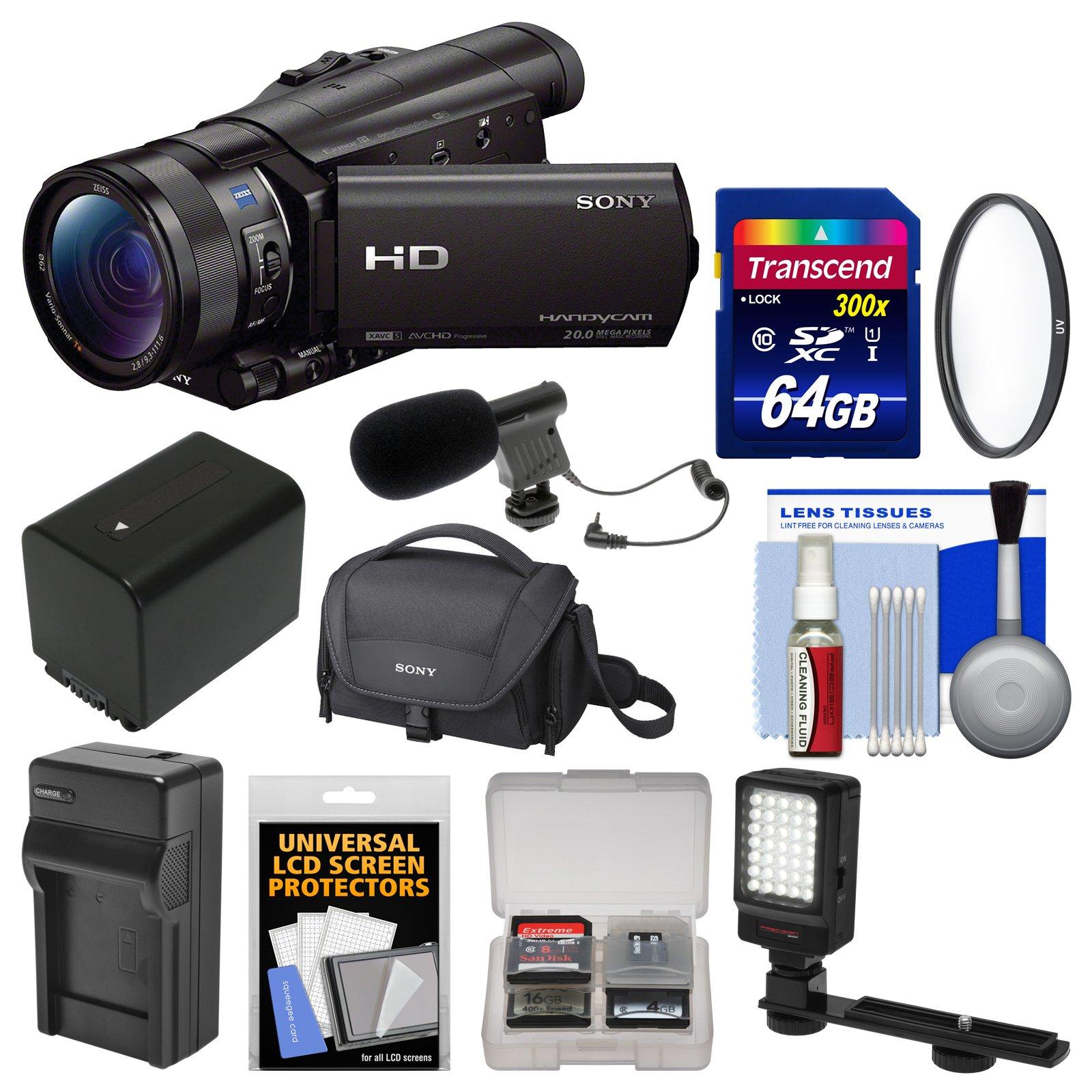 Sony Handycam HDR-CX900 Wi-Fi HD Video Camera Camcorder with 64GB Card + Case + LED Light + Microphone + Battery & Charger + Accessory Kit