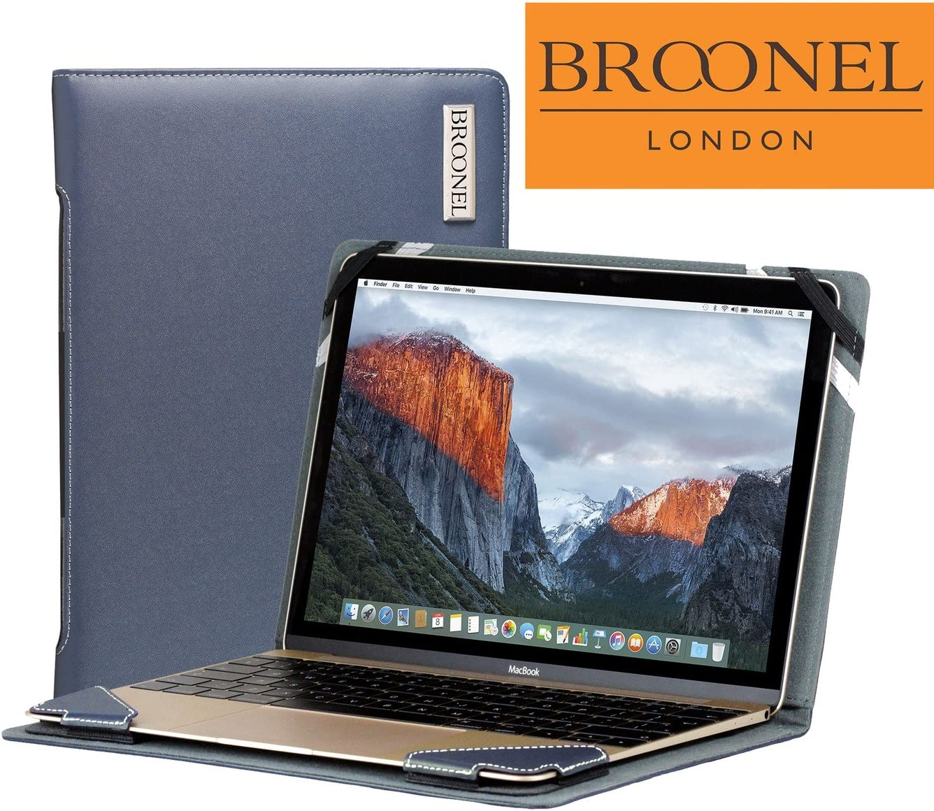 Broonel London - Profile Series - Blue Leather Luxury Laptop Case For the Acer Chromebook R 11 (CB5-132T-C1LK)