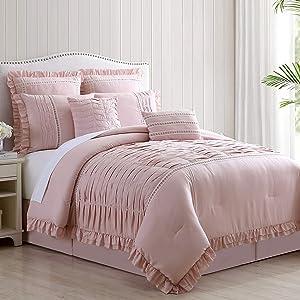Amrapur Overseas Antonella 8-Piece Pleated Comforter Set, Queen, Mauve