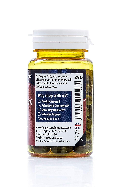 Coenzima Q10 30mg Ubiquinona - 2 frascos de 60 cápsulas - Hasta 4 meses de suministro - Aumenta los niveles de energía - SimplySupplements: Amazon.es: Salud ...