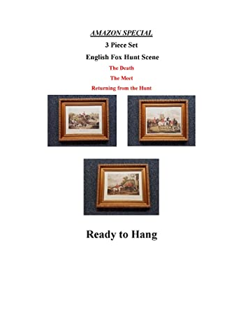 Amazon.com: TheShoppe-USA 3 Piece English Hunt Scene Framed Set ...