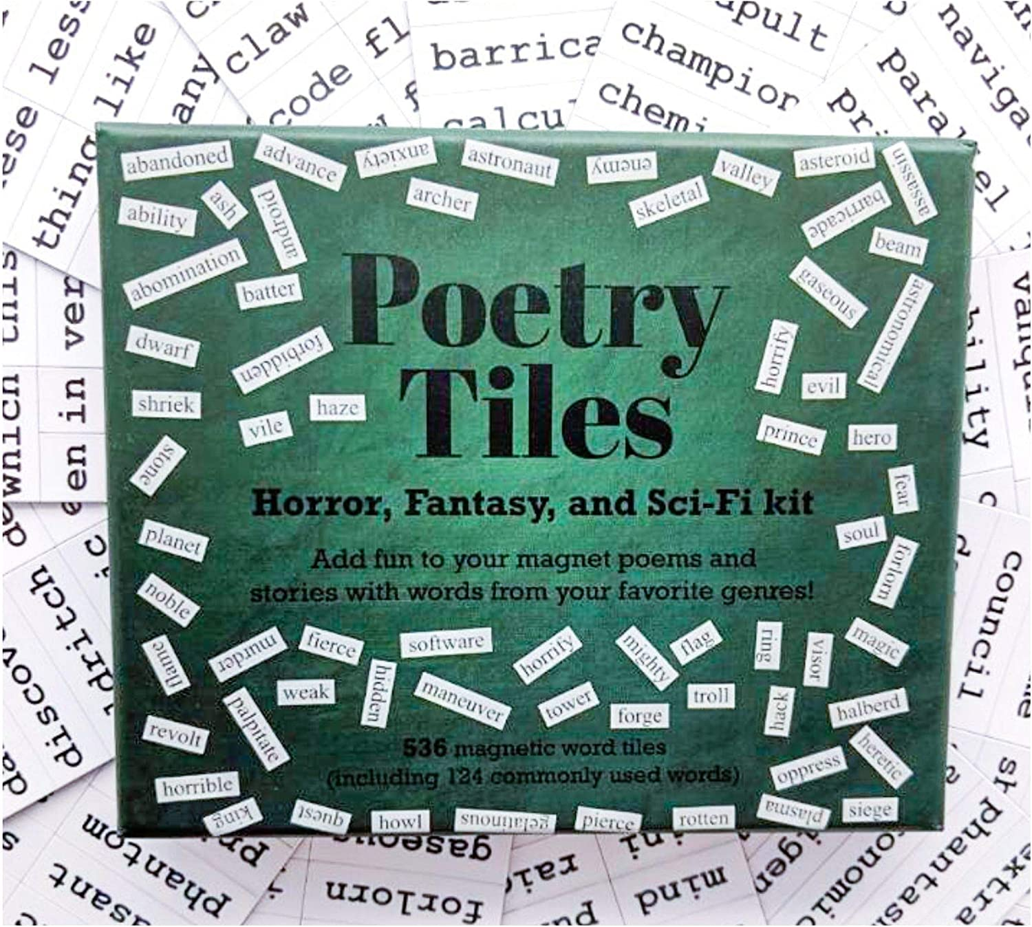 Poetry Tiles - 660 Horror, Fantasy, SciFi Themed Fridge Word Magnets - Gift Kit for Refrigerator Poems and Stories