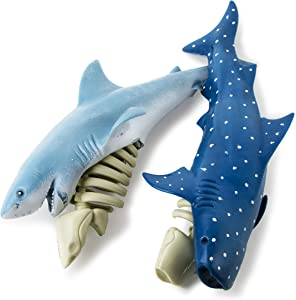 Boley Shark & Bones - 2 Pack Shark Toys for Boys and Girls - Blue Shark and Tiger Shark Toy Skeleton - Educational Playset for Kids and Toddlers