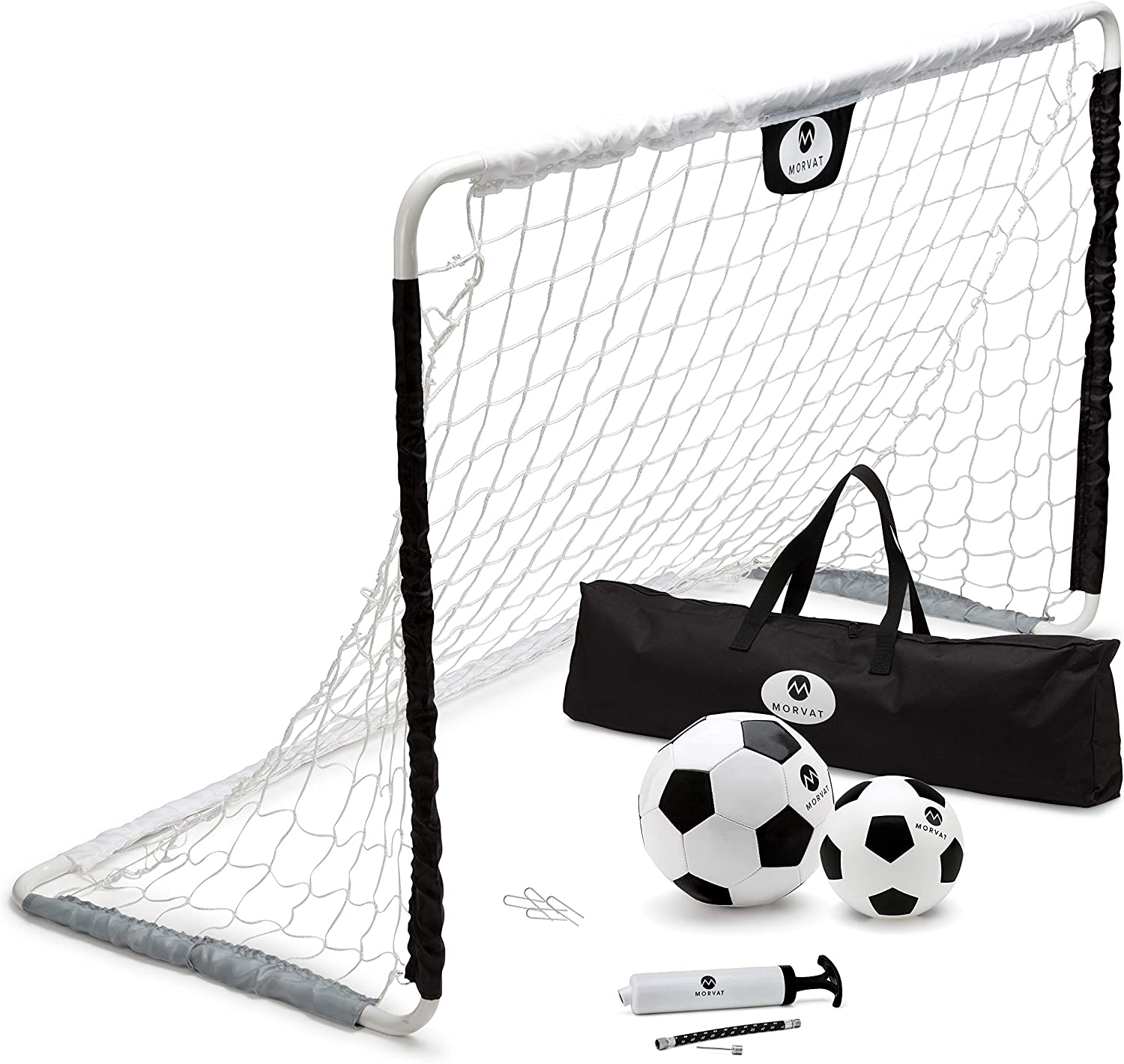 Morvat Premium Portable Soccer Goal Set | Endless Hours of Fun and Playing Time | Indoor and Outdoor | Extra Strong, Durable Quality