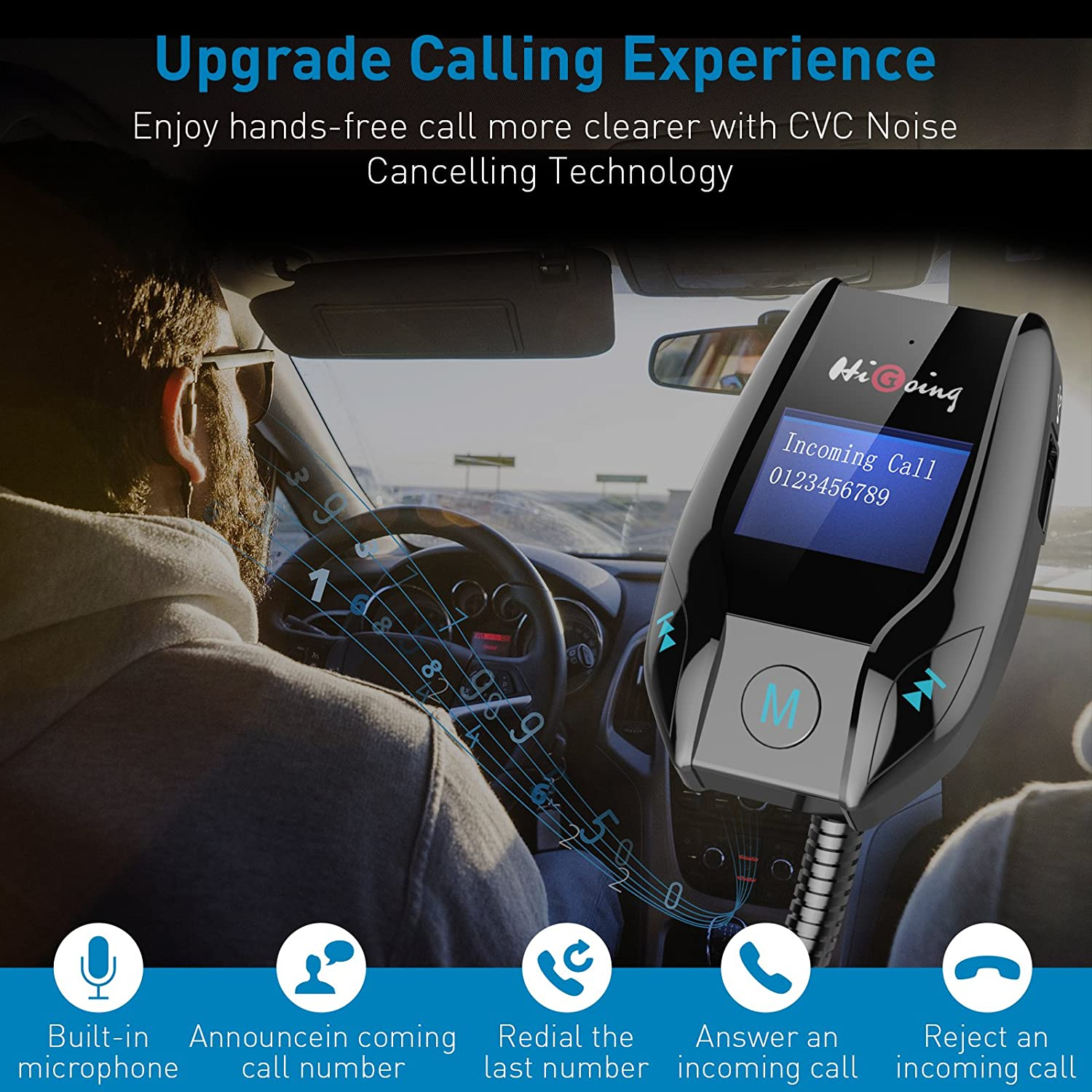 HiGoing Bluetooth FM Transmitter Hands-Free Calling for iPhone etc Samsung Dual USB Charging Port Wireless Car Radio Adapter Receiver Car Kit with LCD Display