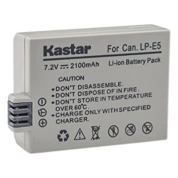 Kiss X2 Rebel XS Replacement for Canon LP-E5 Battery Kiss F Rebel XSi and Rebel T1i Digital SLR Cameras 500D High Capacity Kiss X3 2 x Rechargeable Battery for Canon EOS 450D 1000D