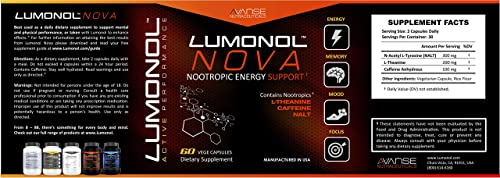 Lumonol Nova 60ct Brain Power Pre-Workout Energy Booster Without The Usual Crash. All Natural Nootropic Energy Booster Pills with L-Theanine. Helps Improve Focus, Limits Occasional Nervousness.