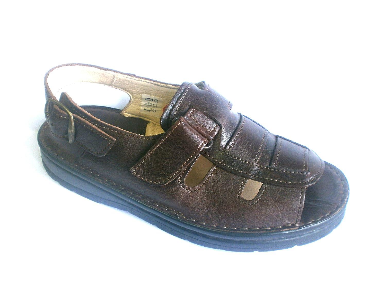 Gemini 011110-01/332, Herren Sandale Sandalette Pantolette 011110-01/332, Gemini braun, echt LEDER - 0893fc