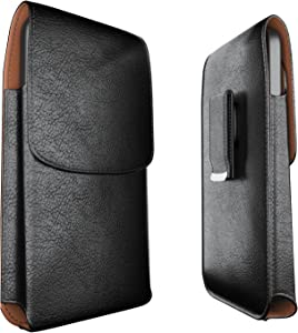 Meilib Phone Holster Designed for iPhone SE (2020), iPhone 6 6s 7 8 Belt Case Cell Phone Belt Pouch Case with Swivel Belt Clip Fits Apple iPhone Compatible with Otterbox / Lifeproof Case on - Black