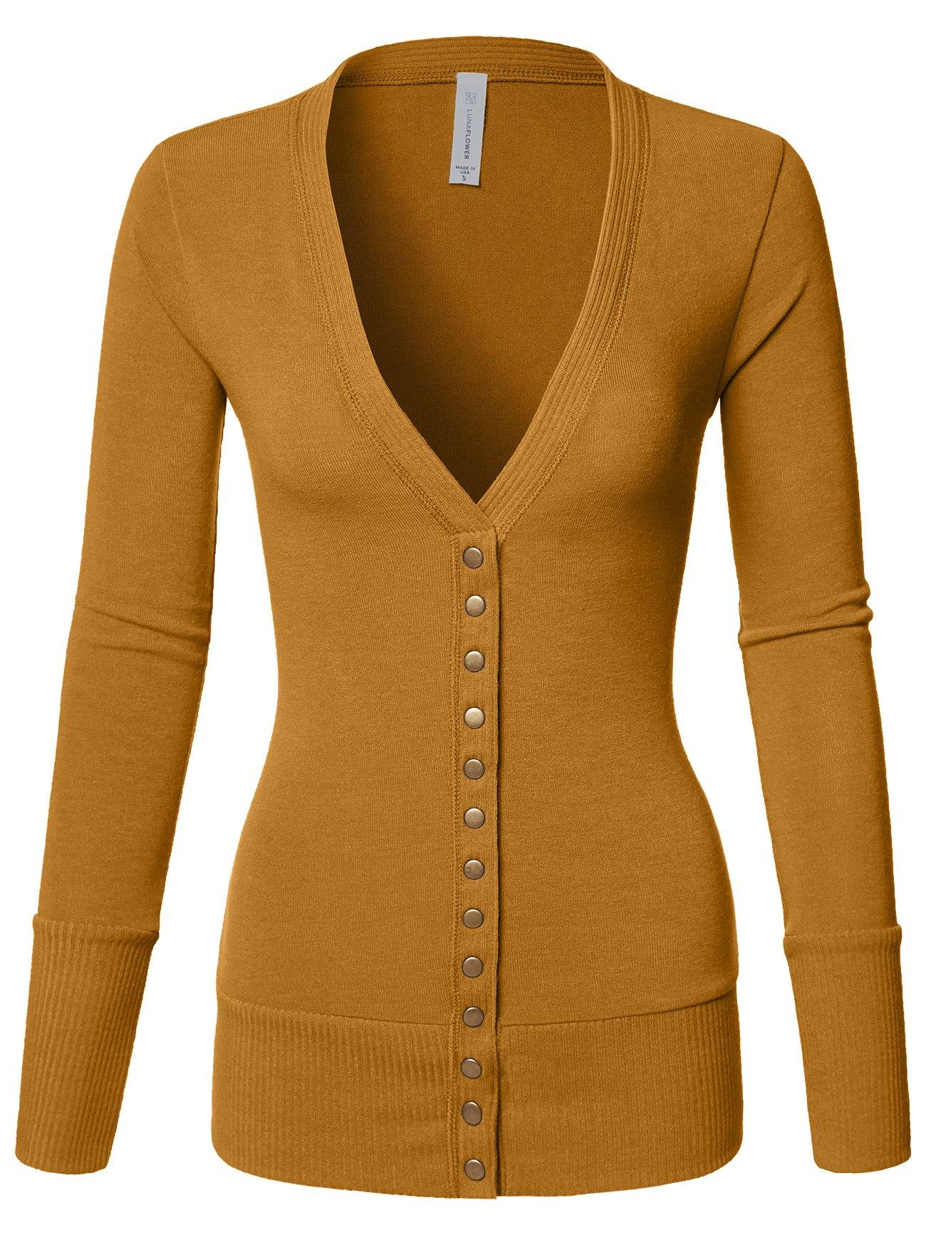 Luna Flower Women's V-Neck Snap Button Long Sleeve Soft Basic Knit Snap Cardigan Sweater ASH_Mustard Medium (GCDW027)