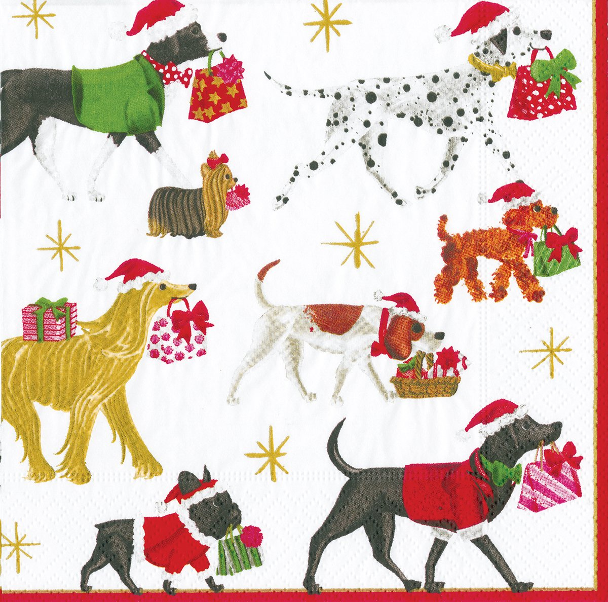 Caspari Christmas Delivery White dogs in Christmas jumper with presents Luncheon Paper Table Napkins 20 in a pack 33cm square