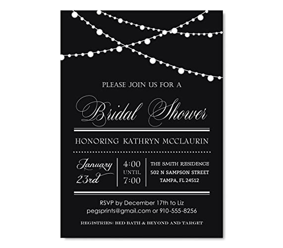black and white garland bridal shower invitation elegant bridal shower invitations black background