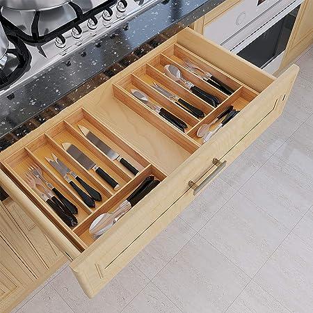 Amazon.com: BAMEOS Organizador de cajones de bambú para ...