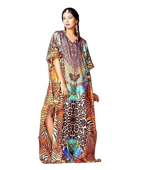 fccca758e Silk Feel Kaftan's Animal Print Full Length Kaftan Dress for Woman ...