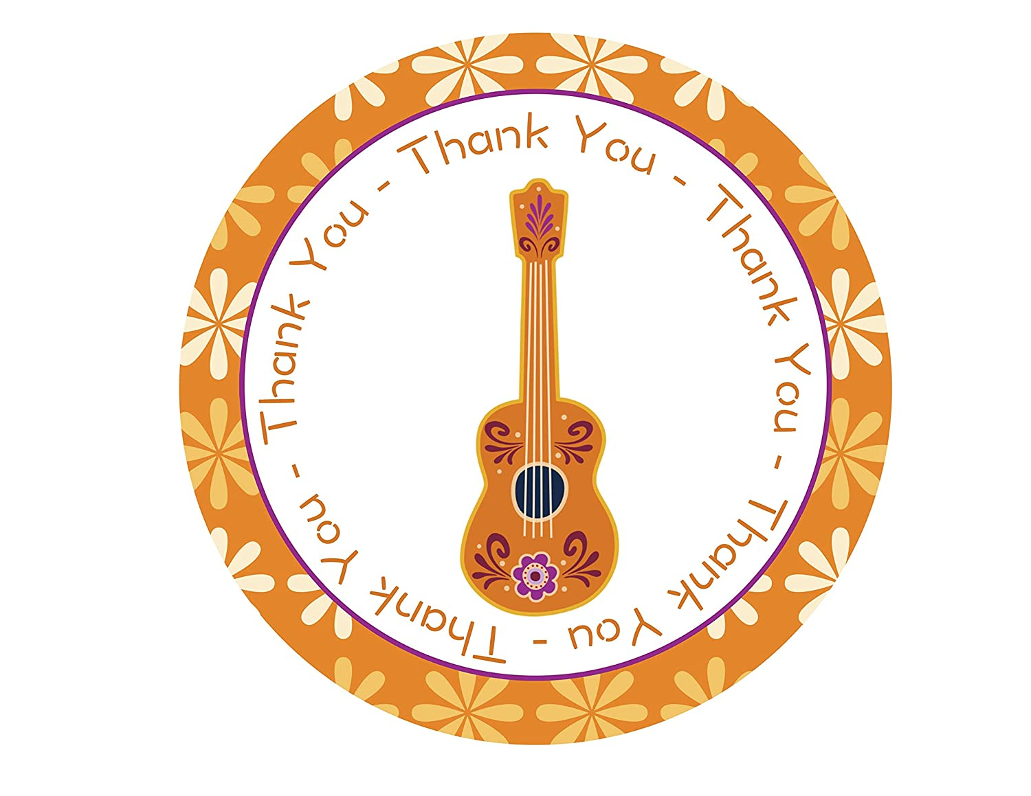 9 Personalized Guitar Themed Stickers Goody Bag Labels Birthday Party