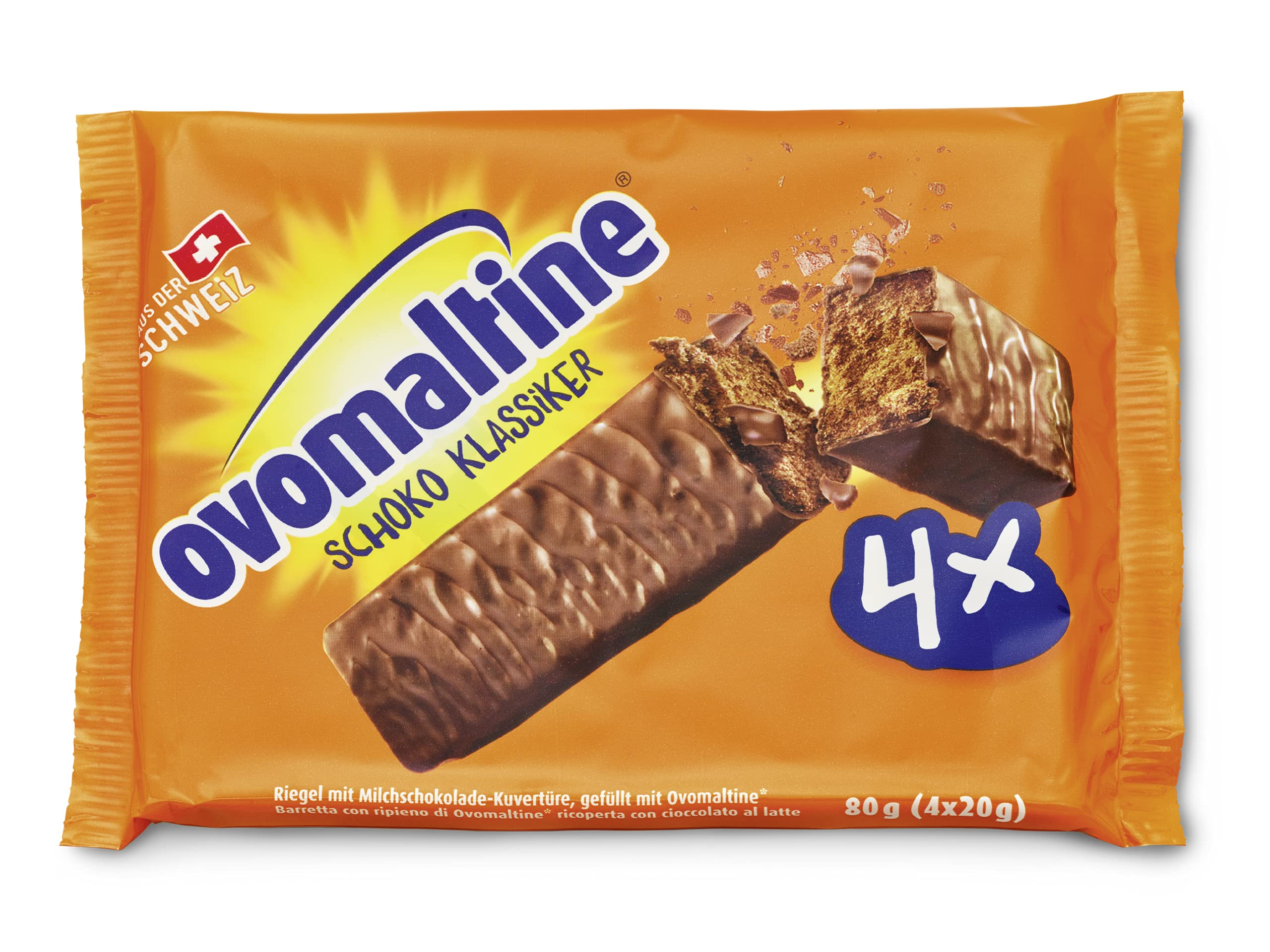 Ovomaltine Chocolate Classic, The Ultimate Bar for Energy and Indulgence, Pack of 1 (4x20g)