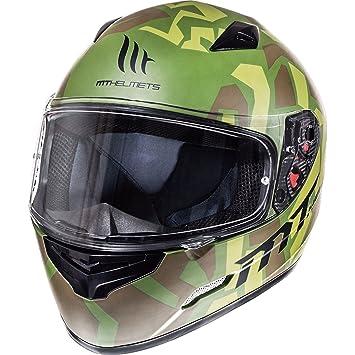 Casco de motocicleta Mugello Leopard de MT, Matt Green Military, X-Large