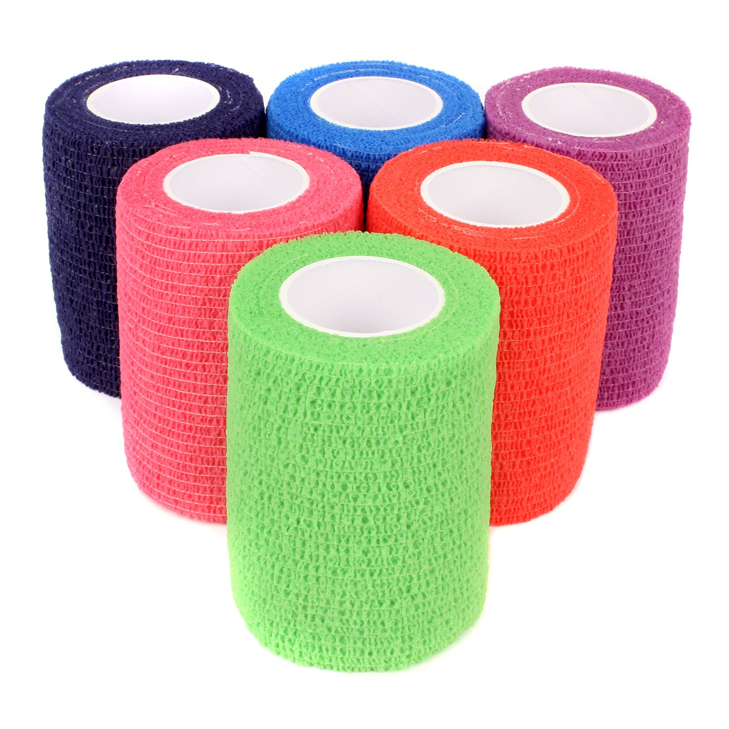 Ever Ready First Aid Self Adherent Cohesive Bandages 3'' x 5' - Rainbow Colors (12)