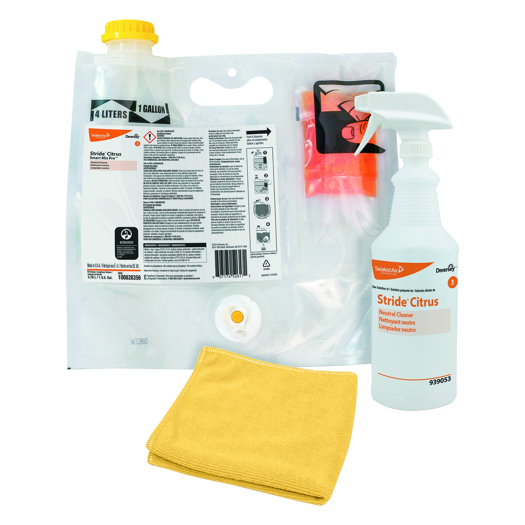 Diversey Stride Smart Mix Pro Neutral Cleaner Starter Kit - Citrus - The NEW Smartest Way to Clean - Includes 2 Smart Pouches = 8 x 1 Quart Bottles, 1 Empty Spray Bottle & Trigger, 1 Cloth, 2 Labels