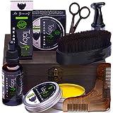 Beard Kit, Grooming & Trimming Set for Men Includes - Beard Oil, Beard Balm, Horsehair Brush, Wooden Comb, Facial, Nose & Ear Trimmer, Beard & Mustache Scissors