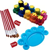 Derun Washable Kid's Finger Paint Set with Stamps and 6 Free Paint Brushes and Pallet (10 Count)