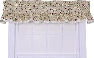 Ellis Curtain Kitchen Collection Cherries Ruffled Valance, Natural