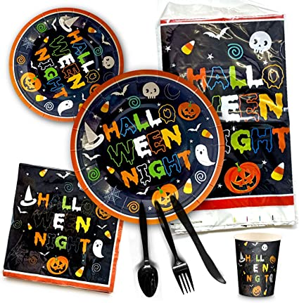 Nightmare Before Christmas Party Supplies Tableware Bundle Pack For 16 Guests 16 Dinner Napkins Includes 16 Dinner Plates 16 Dessert Plates 16 Sets of Plastic Cutlery and 1 Plastic Tablecover