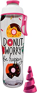 product image for Motivational Shaker Bottle - BPA Free Smoothie Cup - Replaces Your Electric Blender for Protein Shakes, Powder Mixes or A Cocktail - Made in USA (Donut Worry)