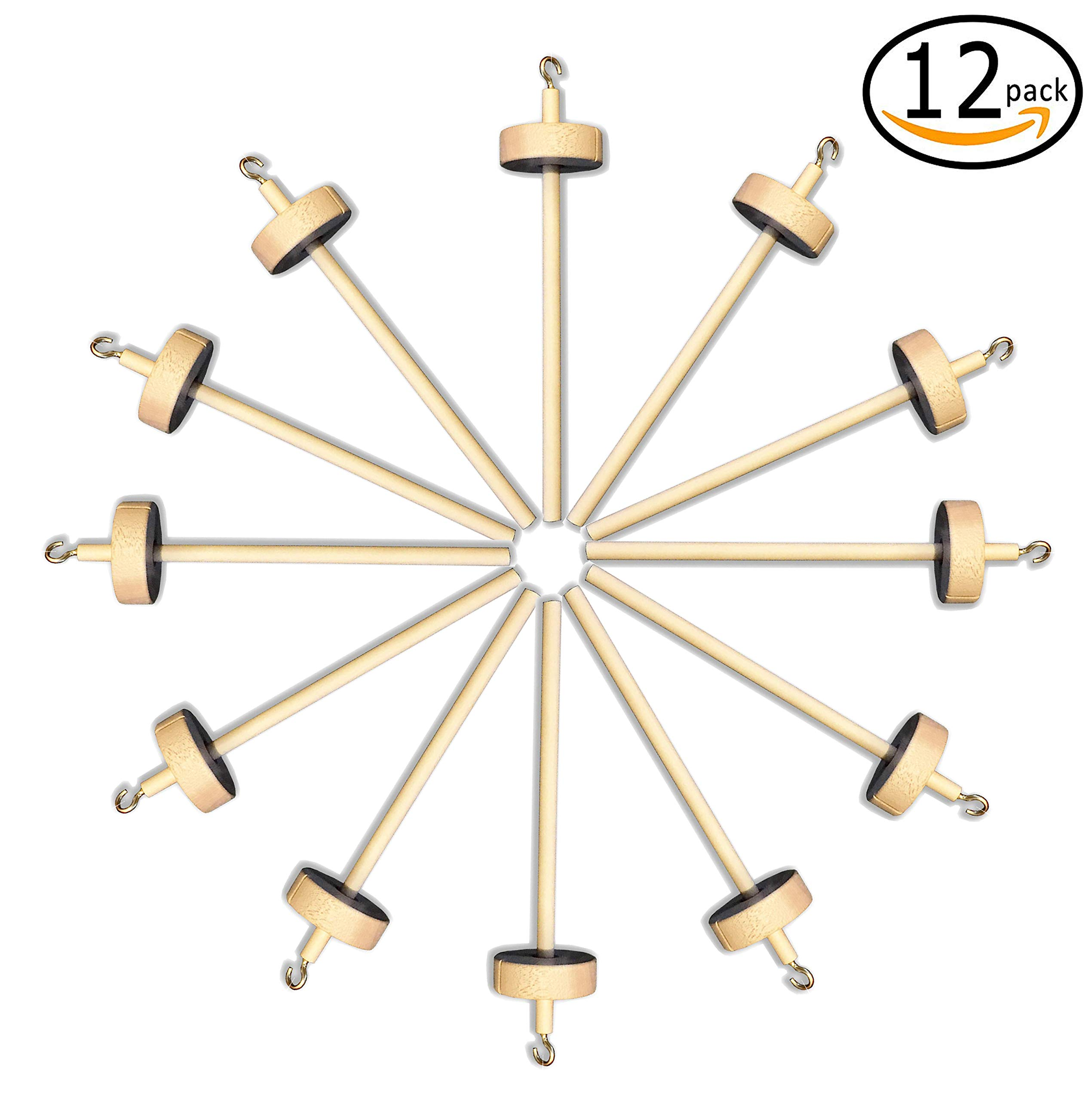 Happy Classy Drop Spindle Maple Spinning 6'' Mini Top Whorl 12 Pack