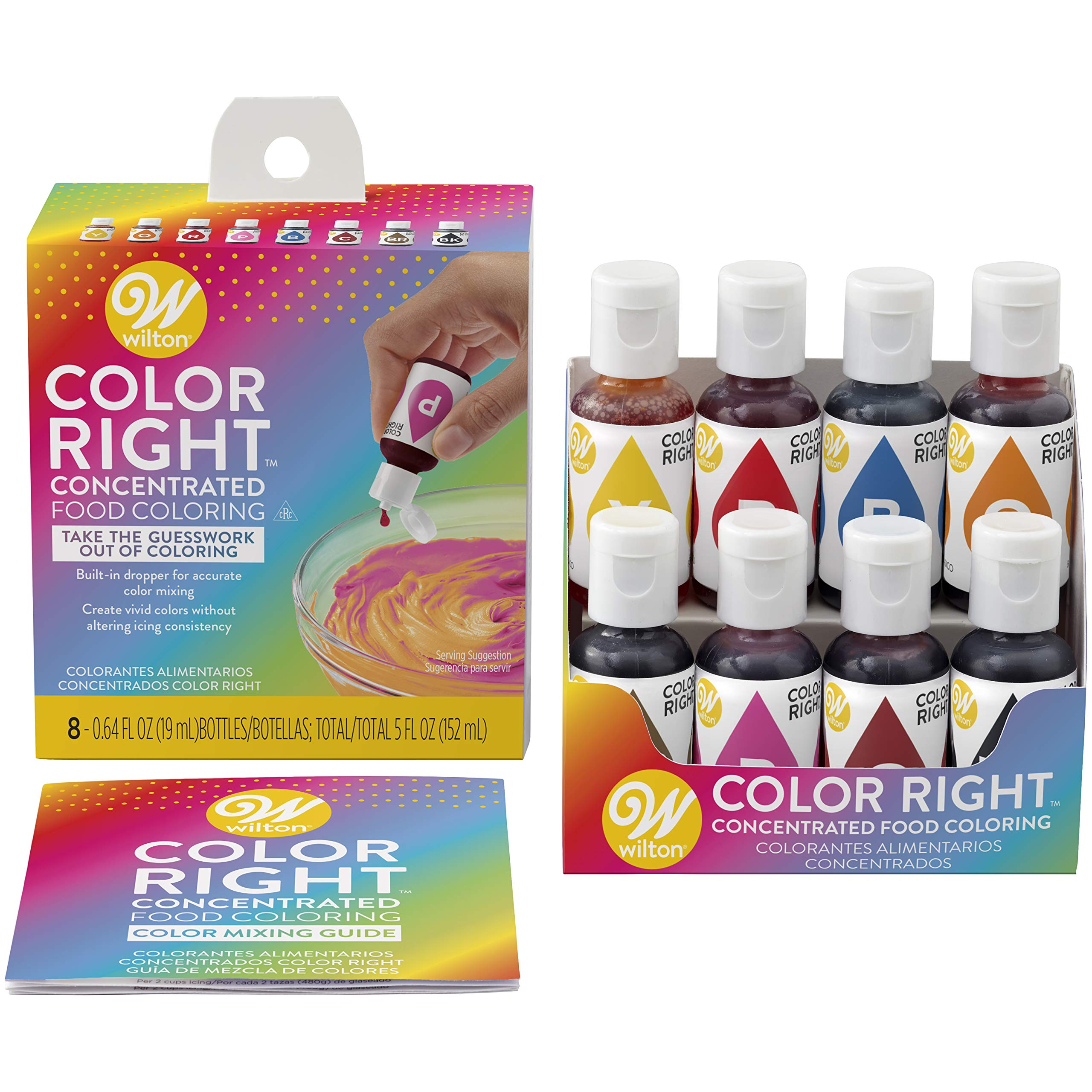 Wilton Color Right Performance Food Coloring Set, Achieve Consistent Colors for Icing, Fondant and Cake Batter, 8-Base Colors by Wilton