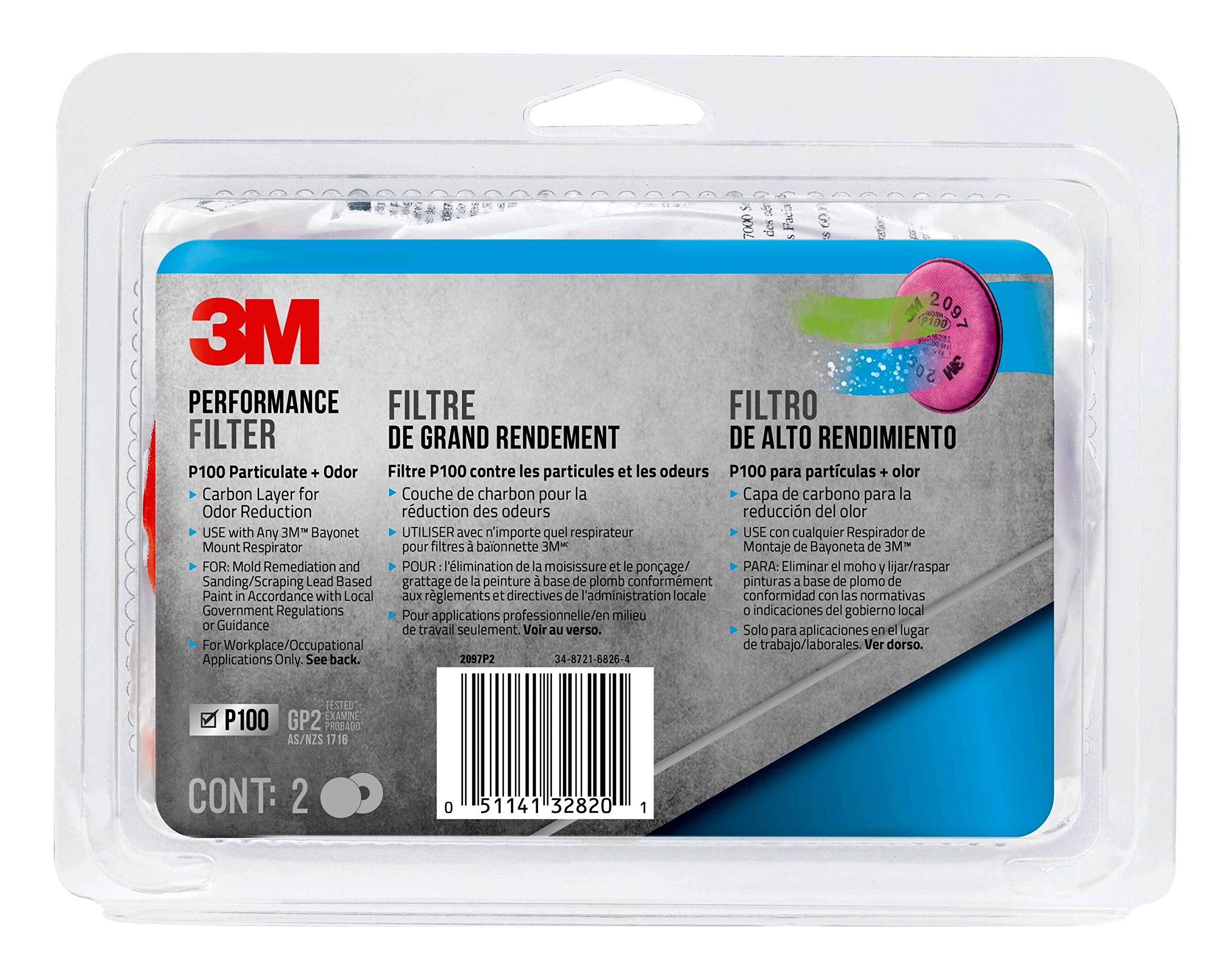 3M - 2097PA1-A - 2097P2-DC P100 Particulate Filter with Nuisance Level Organic Vapor Release, 2-Pair Original version