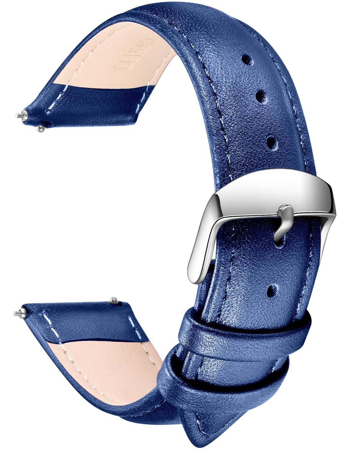 SONGDU Quick Release Leather Watch Band, Full Grain Genuine Leather Replacement Watch Strap with Stainless Metal Buckle Clasp 16mm, 18mm, 20mm, 22mm, 24mm (20mm, Blue)