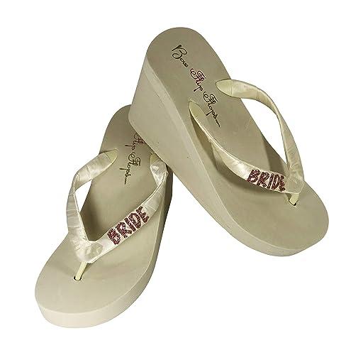 2ddfbfce7c78e6 Amazon.com  Rose Gold or Choose Color Glittery Flip Flops for the Bride   Handmade