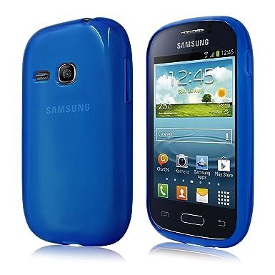 PrimaCase - Funda para Samsung Galaxy Young S6310N en TPU Silicona transparente - Azul
