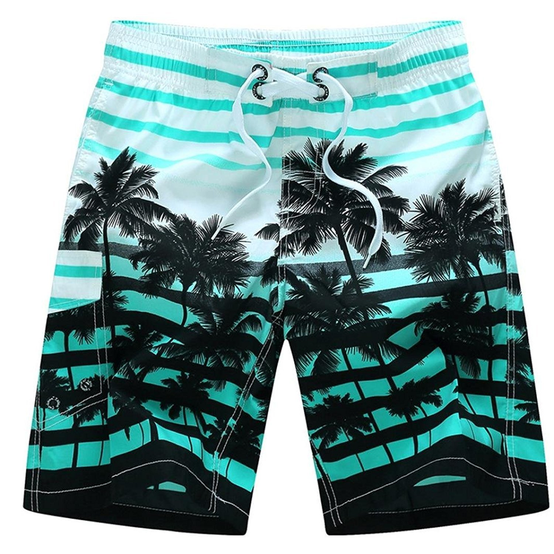 Febling Plus Size Men's Swim Trunks Quick Dry Beach Shorts Swimming Watershort Elastic Waist Shorts (Blue, XXL)