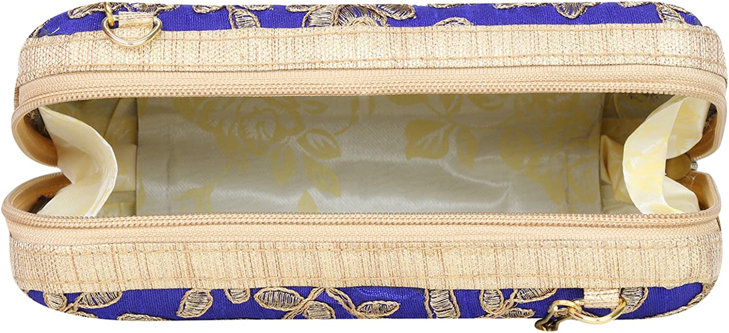 Zipper Closure Hand Crafted Designer Box Clutch with Zari Embroidery Work on Silk Texture Specially Designed
