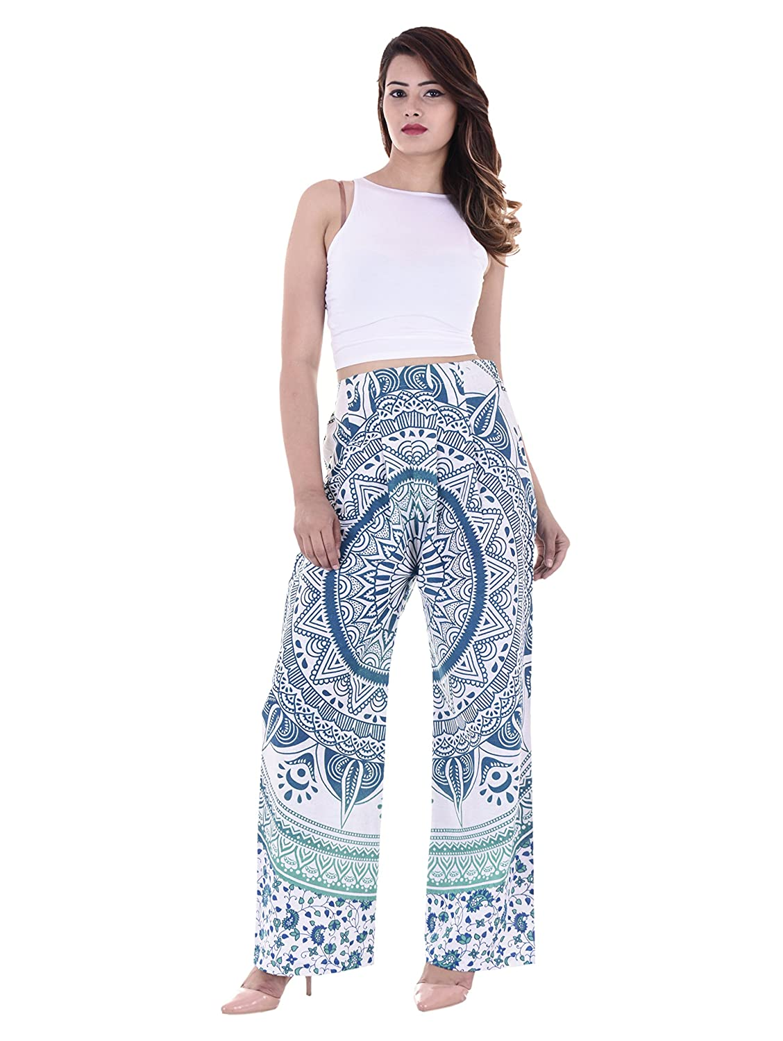 888ed8095a Blue Ombre Mandala Printed Comfortable Regular Trousers Yoga Harem High  Rise Stylish Pants Harem By Handicraft-Palace (Large): Amazon.in: Clothing  & ...