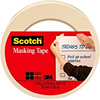 Scotch Tan Home and Office Masking Tape, 3/4-inch by 60 yards, 3436, 1 roll