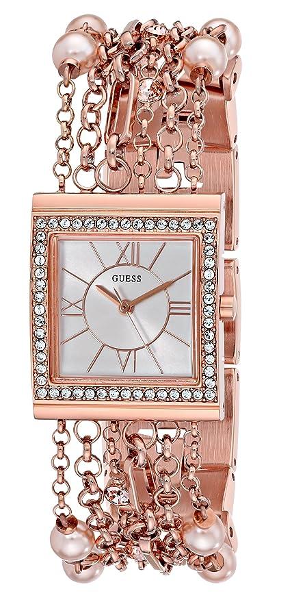 Amazoncom GUESS Womens U0140L3 Pearl Embellished Rose GoldTone