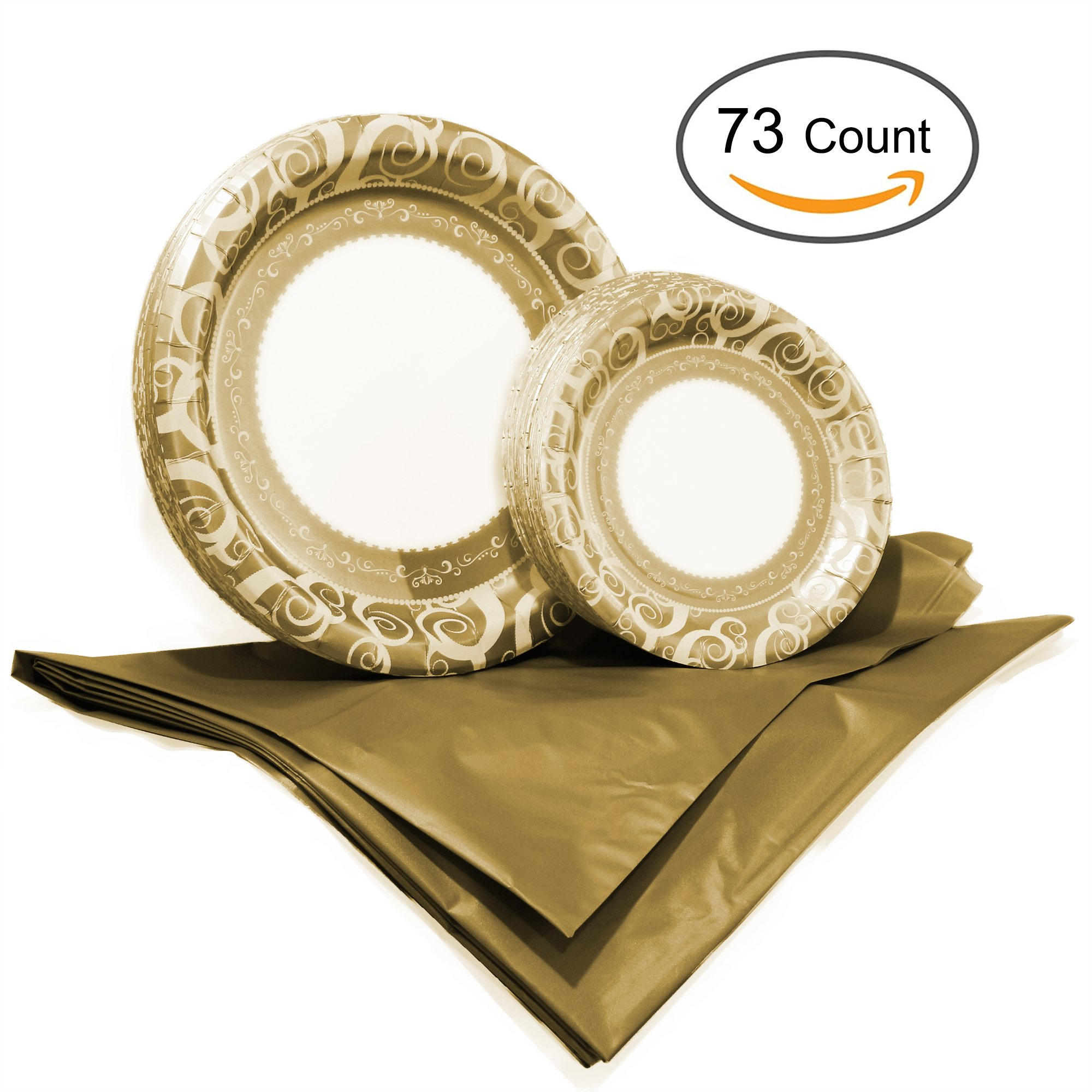 Tiger Chef Majestic Gold Disposable Plate Paper Dinnerware Set for 36 Guest, Includes 36 10-inch and 7-in Paper Plates and 1 Plastic Tablecloth 54x108-in, Party Pack Tableware, Wedding, Birthdays