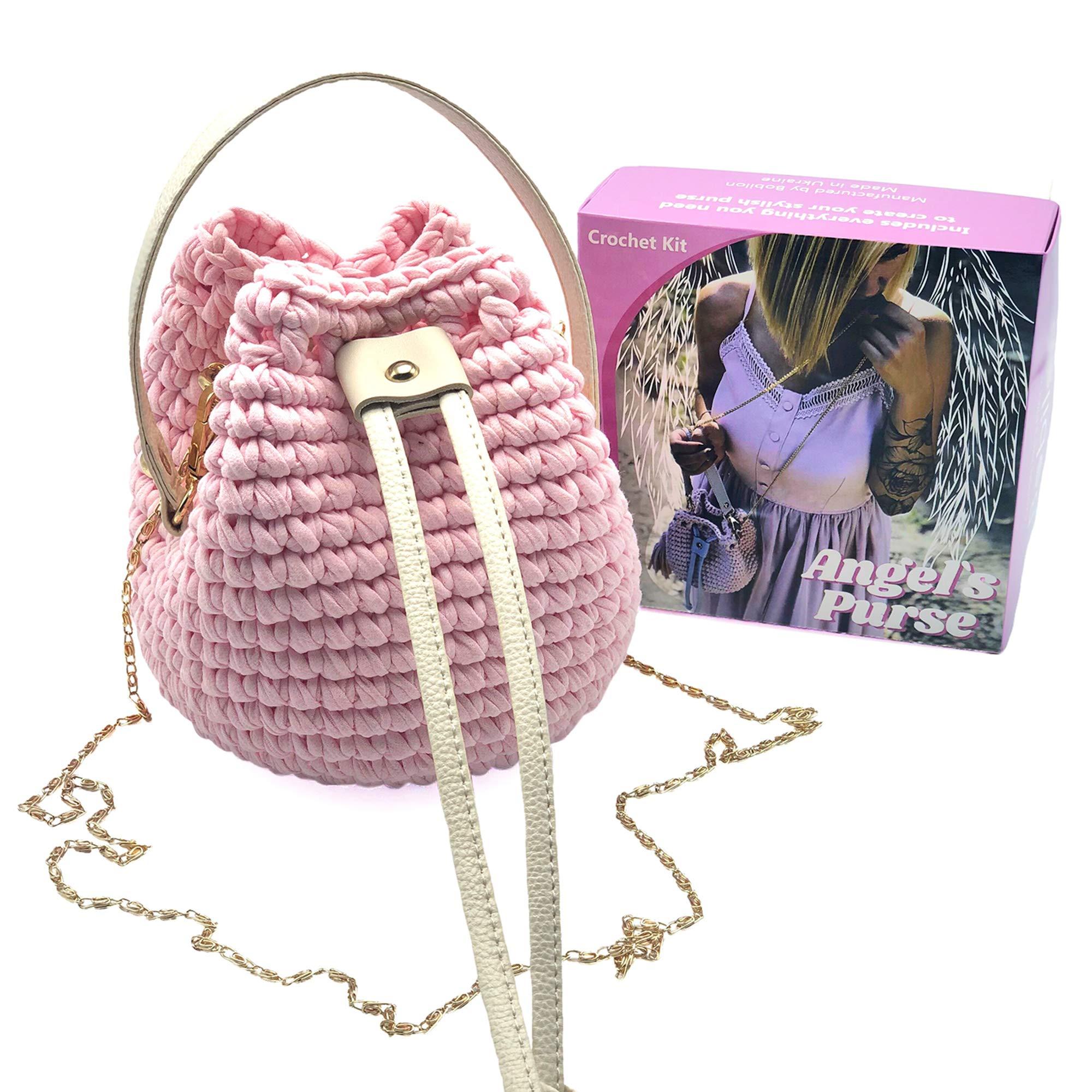 T-Shirt Yarn Fettuccini Zpagetti Set - Angel's Purse Kit - 1 Ball Total of 130 Yards - Tshirt Yarn for Crocheting - Ribbon Yarn 100% Cotton - Knitting Yarn Ball - T Yarn Organic - T-Yarn Blush Pink