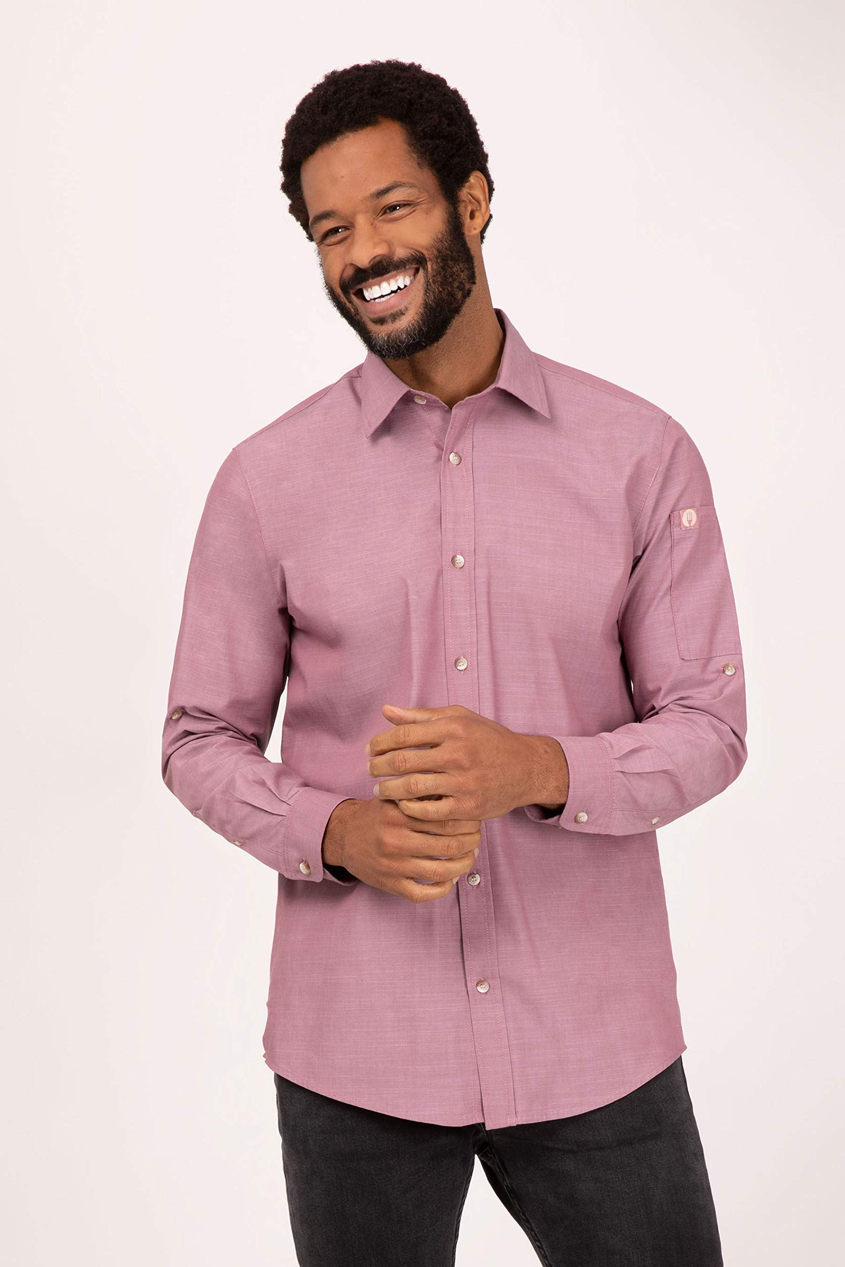 Chef Works Men's Chambray Shirt, Dusty Rose, 2X-Large by Chef Works