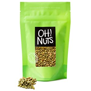 Oh! Nuts Pepitas Roasted Unsalted Pumpkin Seeds | All-Natural Protein Power | Fresh, Healthy Keto Snacks | Resealable 2-Pound Bulk Bag | Shelled and Sprouted Pepitas | Vegan & Gluten-Free Snacking